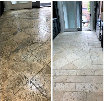 Before and after tile ground cleaning
