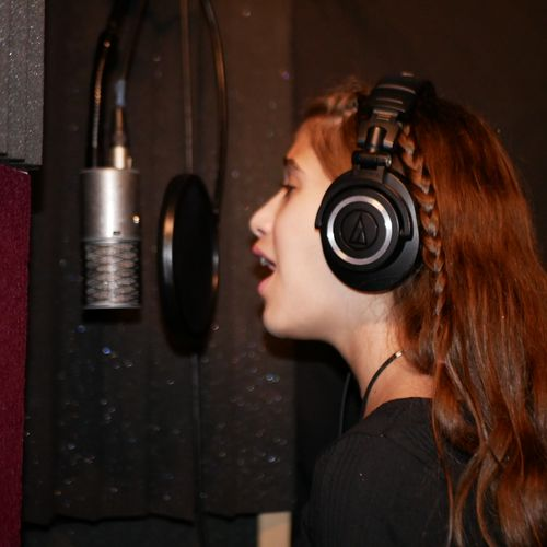 Artist Sofia Swade in the booth