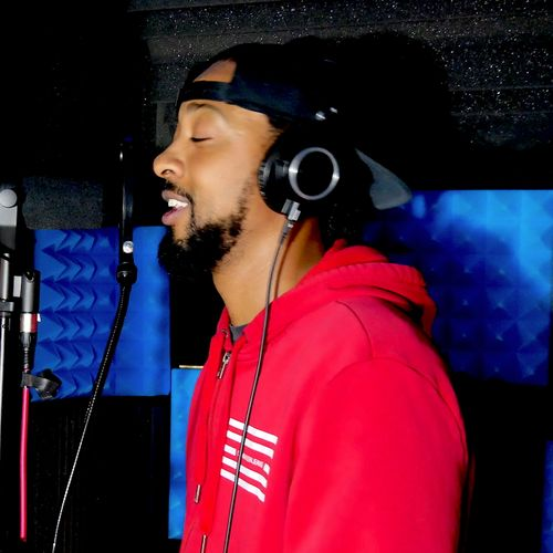 Rapper Tone Yak in the booth