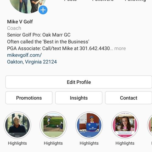 Instagram.com/mike_v_golf for tips on how to improve your game.