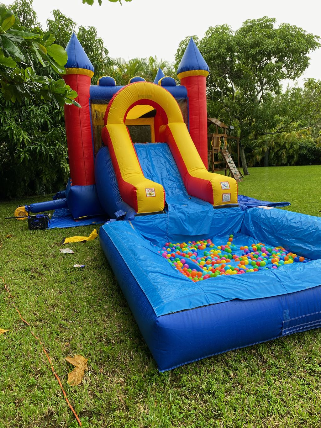 Party setup with bounce house