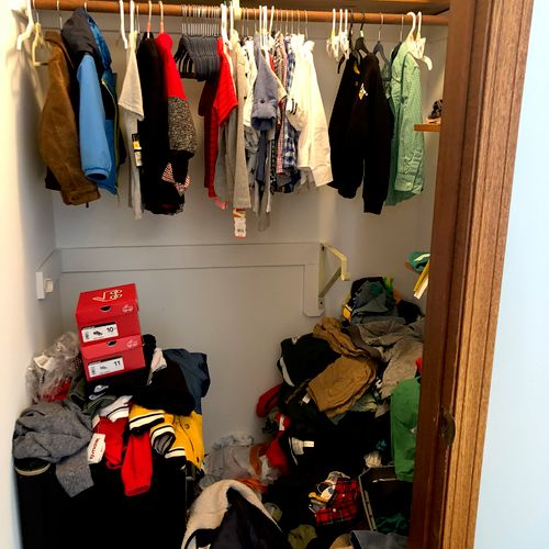This closet has plenty of room and great storage, but needed some order to effectively utilize the space.