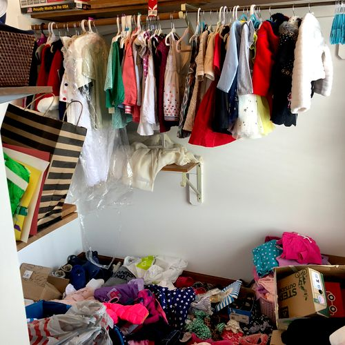 Kids grow in to and out of clothing so fast! This closet got caught in the whirlwind and needed some order.