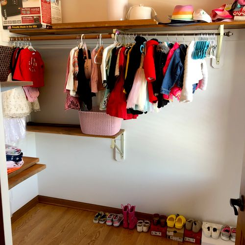 Only current season and size clothing were kept in the closet while the rest were separated, categorized, and stored elsewhere.