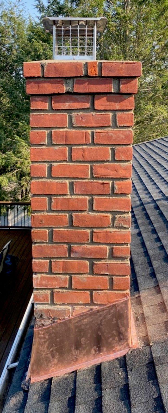 Brick chimney roofline up rebuild