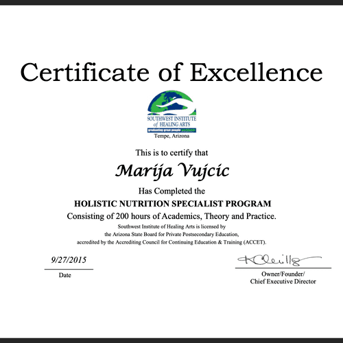 Certified Holistic Nutritionist
