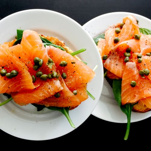 Wild Salmon with Capers and Spinach