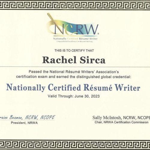 National Certified Resume Writer (NCRW)