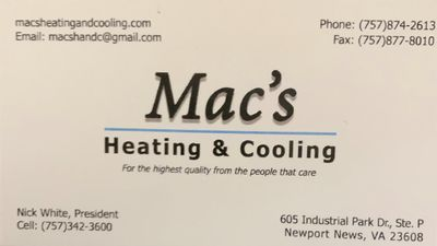 Avatar for Mac's Heating and Cooling