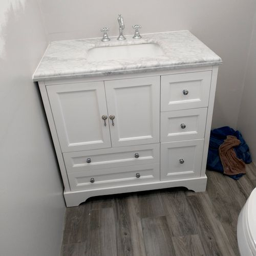 new vanity and faucet installation.