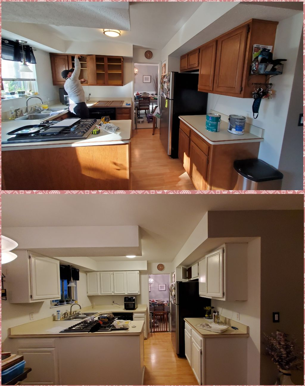 Kitchen cabinets, room paneling, ceiling and stairways
