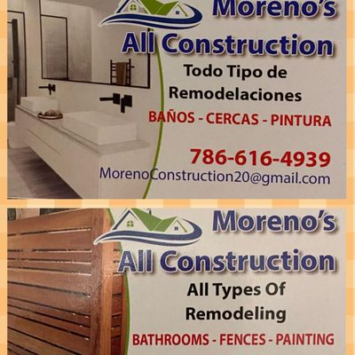 Avatar for Moreno's all construction