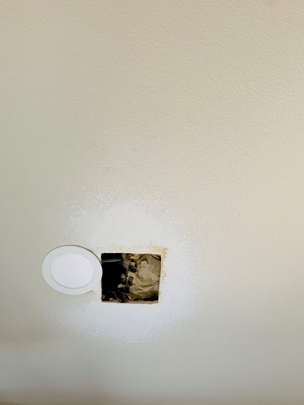 drywall repair, spot texture, and paint ceiling