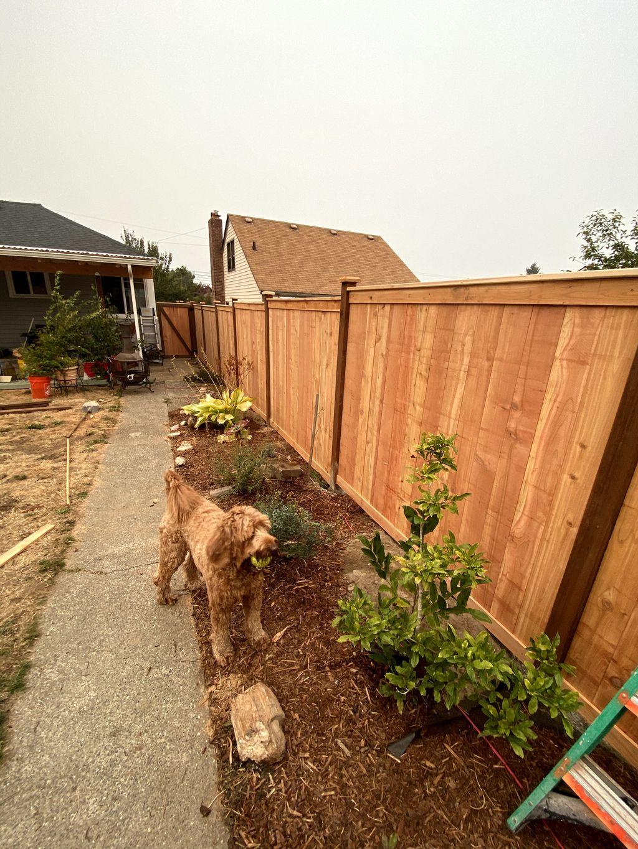 Trimmed estate style cedar fence
