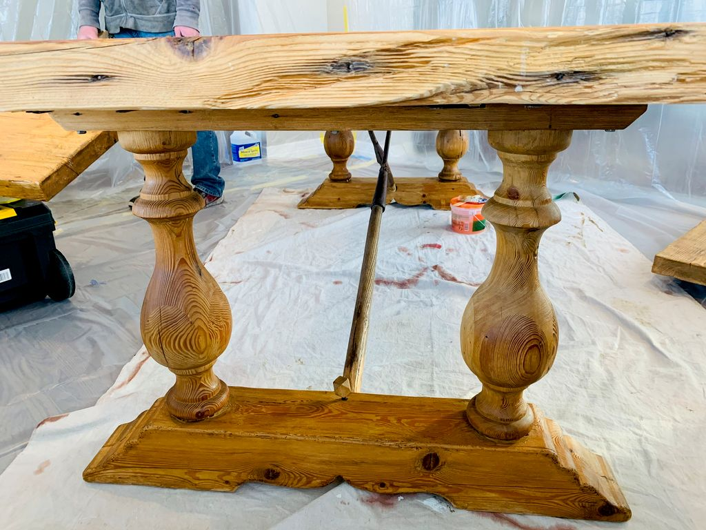 New finish on large solid wood extendable table