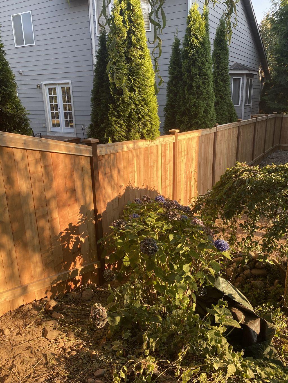 Shared estate style cedar fence