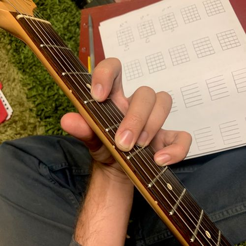 Making chord charts for a student. Here's an interesting F chord with an A in the bass!