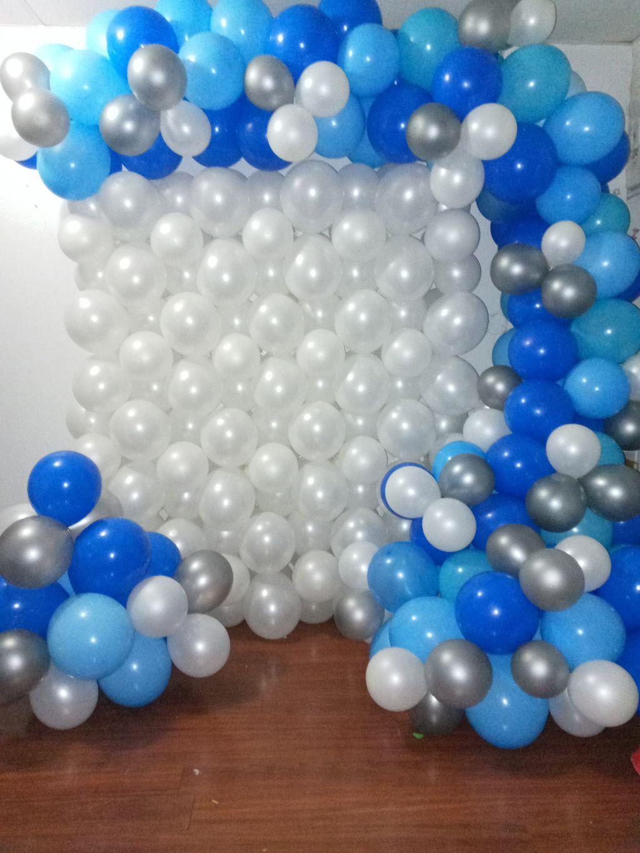 Balloon wall and garland set up