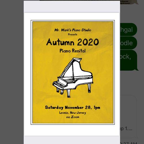 Zoom recital program cover