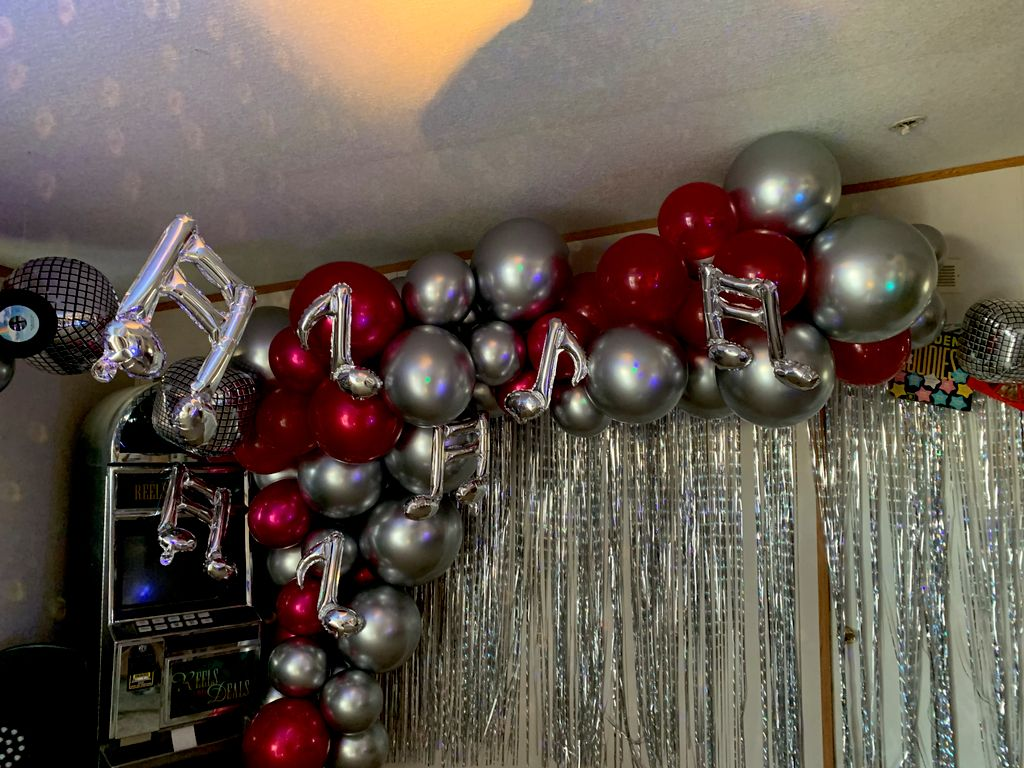 Balloon and event decor, cake, chocolate fountain