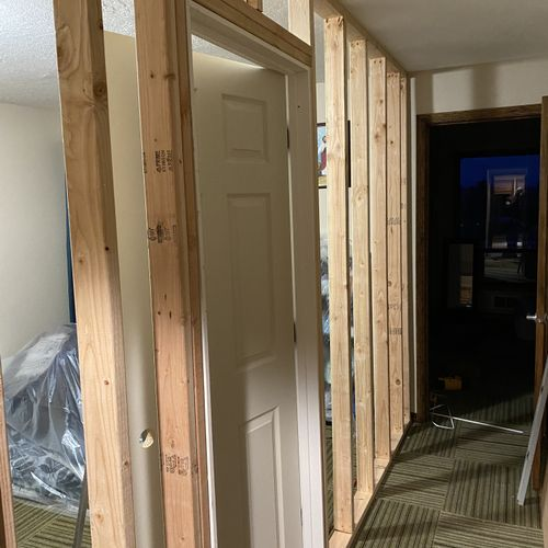 another angle of framing door into a NON load bearing wall existing door leads to sunroom