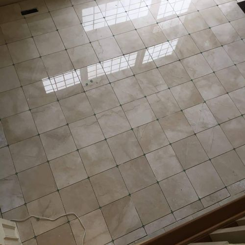 18x18 marble flooring before grout