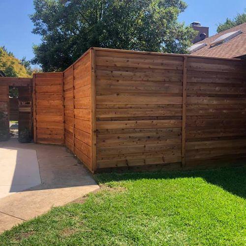 Custom fence - Horizontal Cedar with stain.