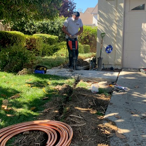 Replacing a mainline that was completely damaged by tree roots