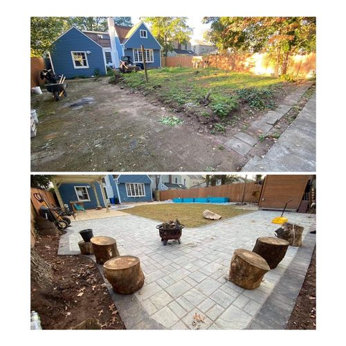 Before and after pictures, backyard project - pavers and sod