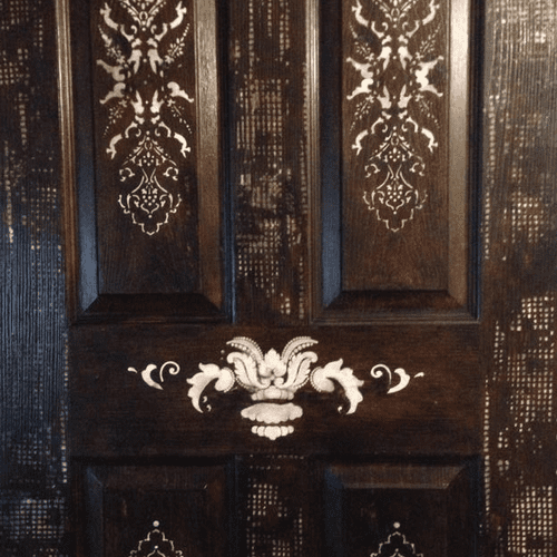 """Faux inlaid wood door, completed for """"Door wars"""". Persian and African influences."""