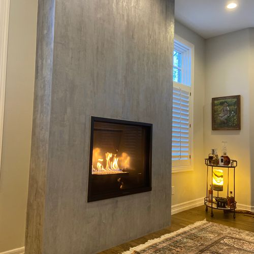 Metallic plaster and paint fireplace surround, Denver