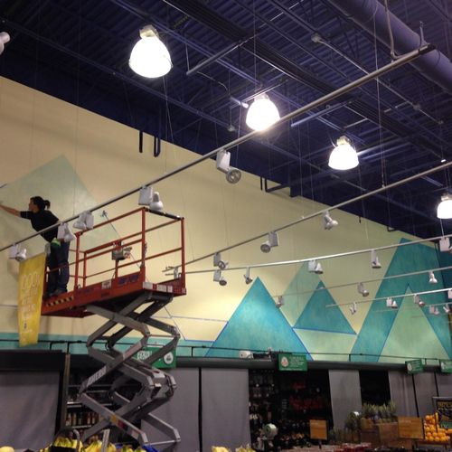Commercial mural for a grocery store in Colorado; subcontracted to a design firm