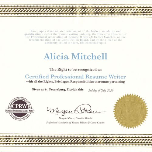 Certified Professional Resume Writer