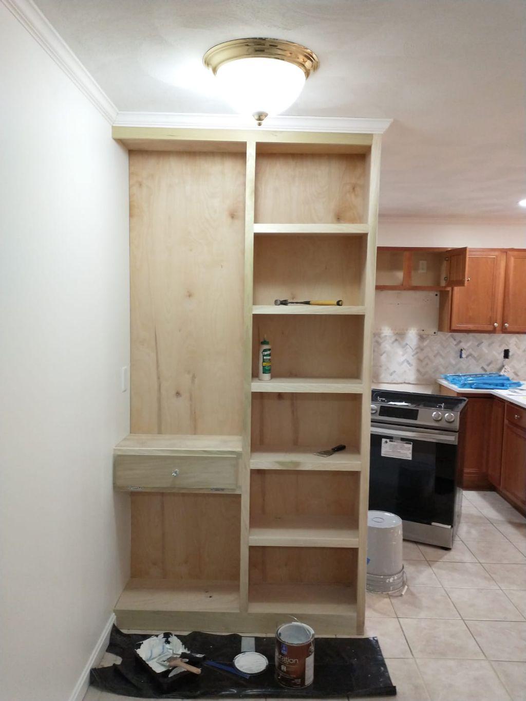 Custom bookshelf and paint