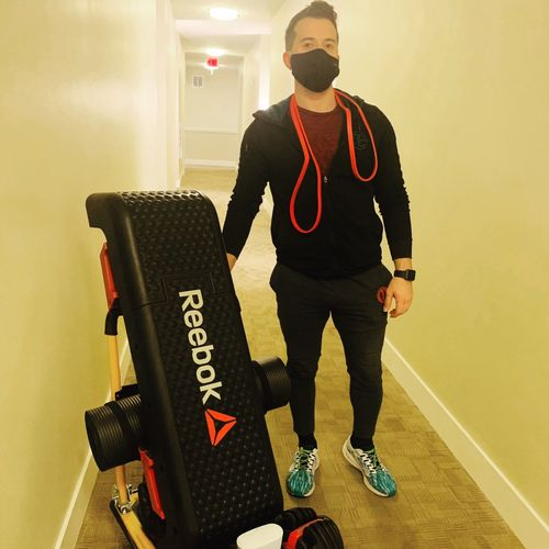 I travel to my clients using my mobile gym that is easily accessible especially during these difficult times.