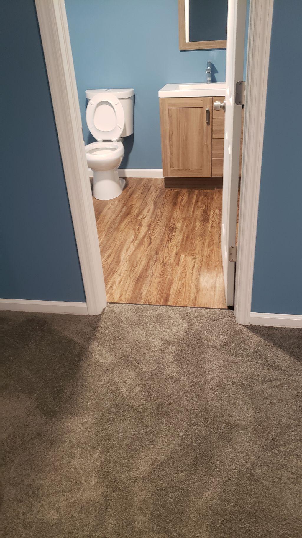 Basement carpet and install bathroom pkank