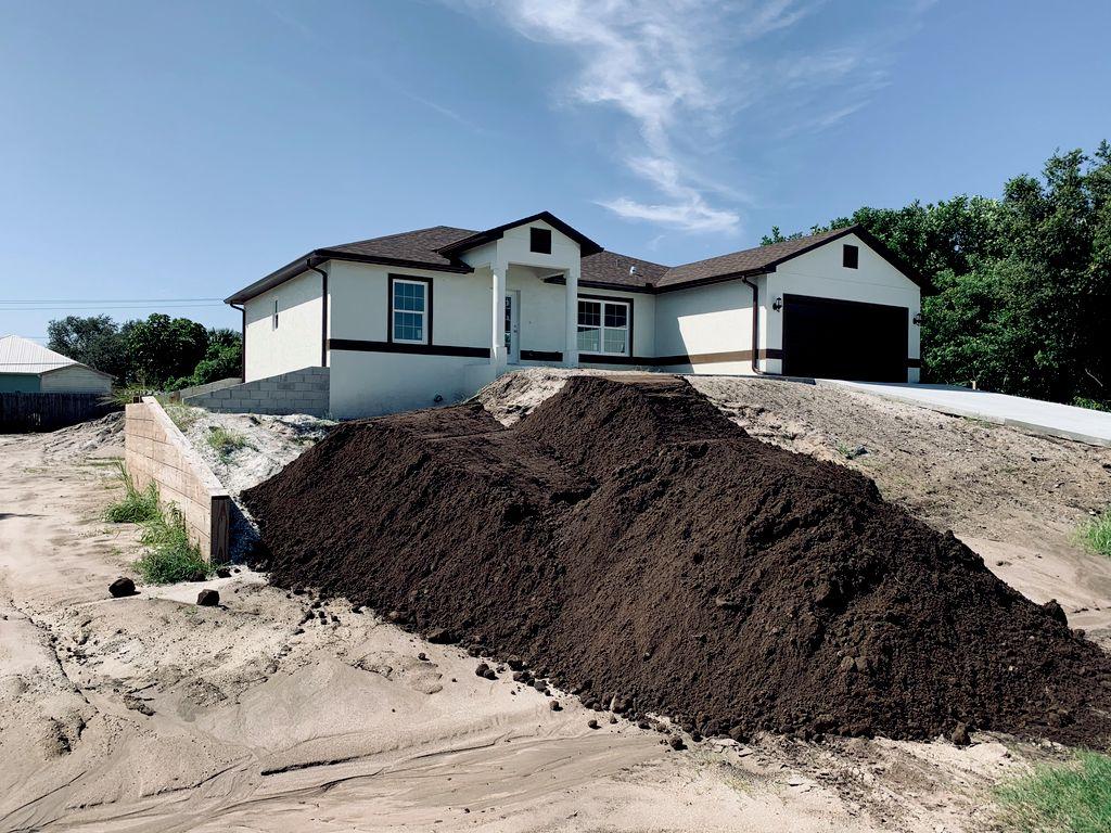 Complete install- dirt, sod scrubs, grass, irrigation