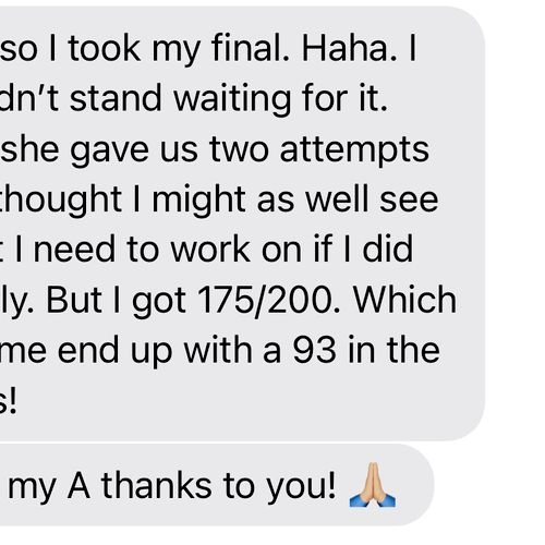One of my College Algebra students aced their class!! A!!!!