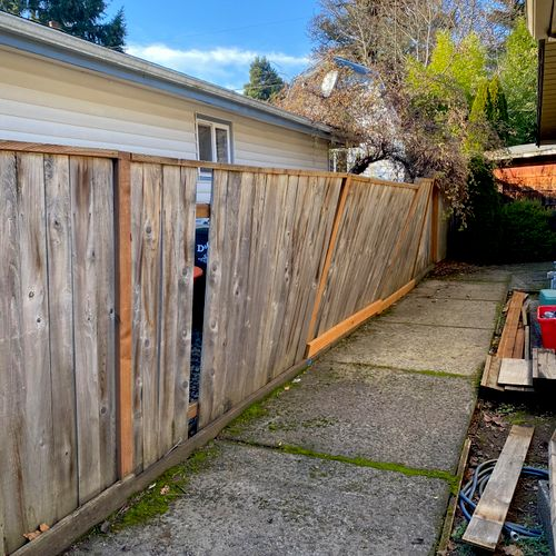 customer requested a fence repair. All fence posts were rotted out and customer wanted to save as many planks as possible.