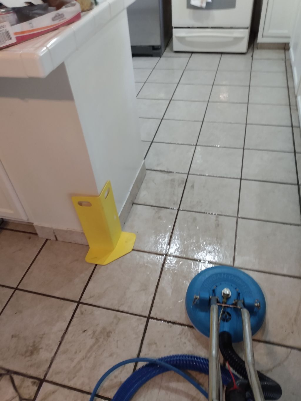 Deep cleaning and grout color seal