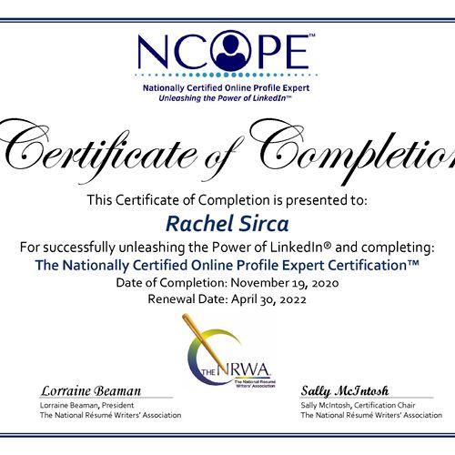 (LinkedIn) Nationally Certified Online Profile Expert (NCOPE)