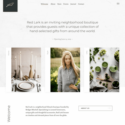 An e-commerce store for a boutique home goods store.