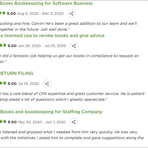 Reviews from Upworks.