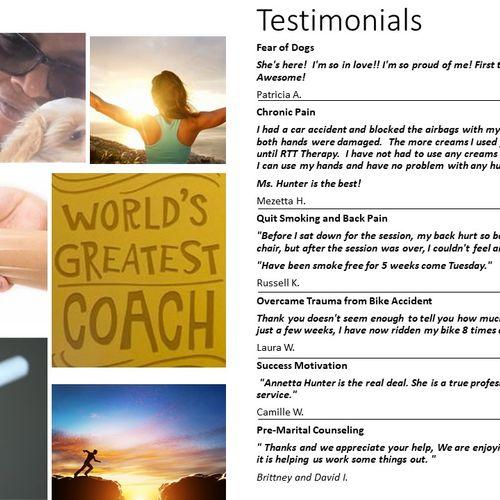Read More Testimonials on huntercoachingandhypnotherapy web page!