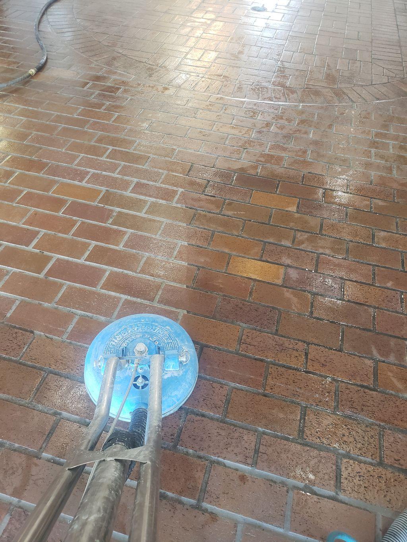 Brick floor cleaned