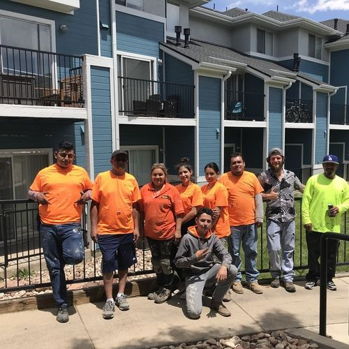 One of our crews after knocking out the beautiful apartment complex behind us!
