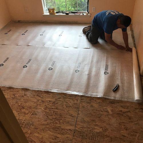 Part 2 Bedroom Engineered Real Wood Floor Install (Pad)