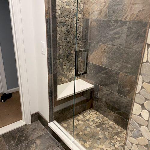Basement stand up shower