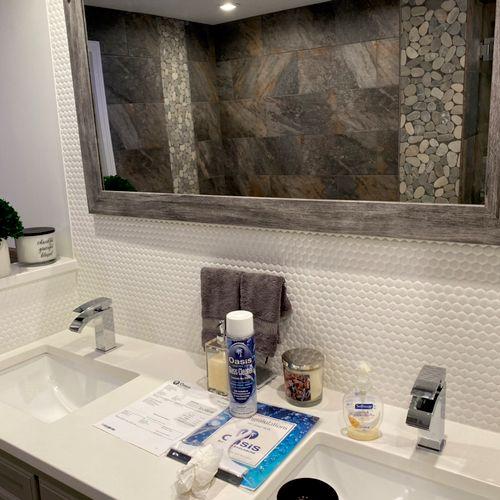 Penny black splash 💦  with barn mirror