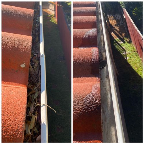 Gutter cleaning before & after. No more blockage and allows free flow of water drainage